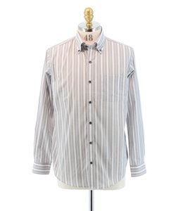 形態安定ストライプボタンダウンシャツ