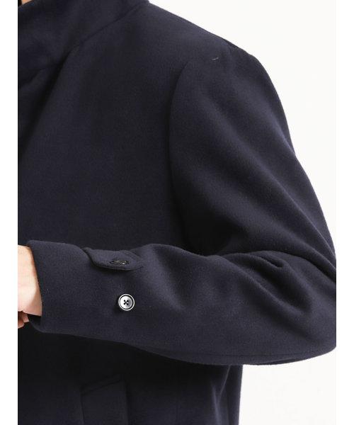 ウールライク スタンドカラーコート紺