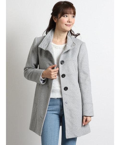 ウール混スタンドカラーシングルコート
