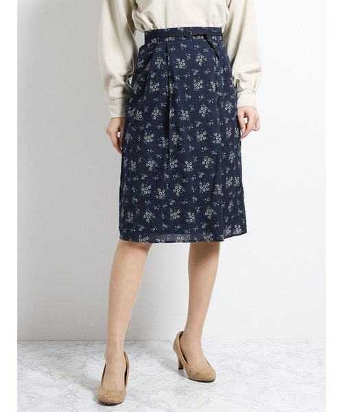 ドビー花柄プリントフレアースカート
