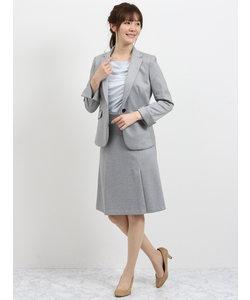 ストレッチ2ピーススーツ(1釦テーラードジャケット+フレアスカート)グレー