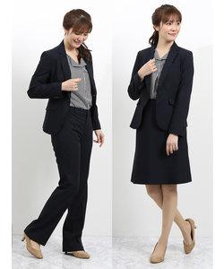 ウォッシャブル3ピーススーツ(1釦ジャケット+フレアスカート+ストレートパンツ)紺シャドーチェック