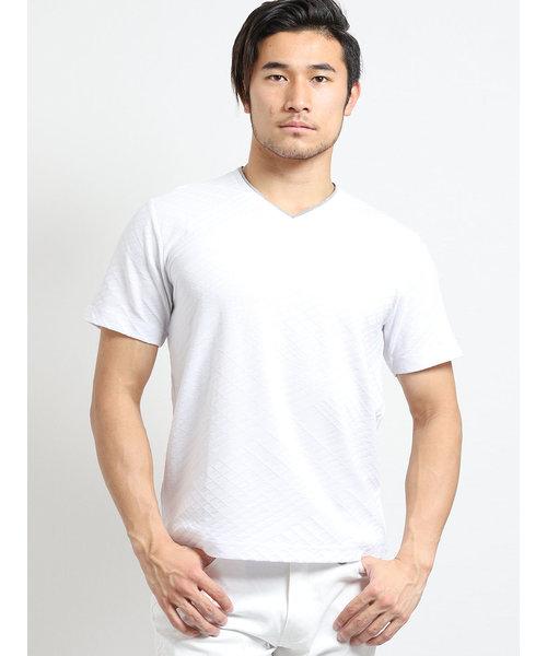 吸汗速乾バイヤスジャガード ダブルVネック半袖Tシャツ