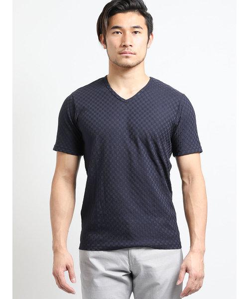吸汗速乾ブライト市松ジャガード ダブルVネック半袖Tシャツ