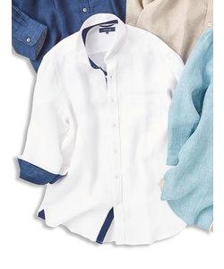 フレンチリネンパナマ カッタウェイ7分袖袖シャツ