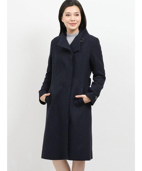 カシミヤ混ウール 変形衿スタンドコート 紺