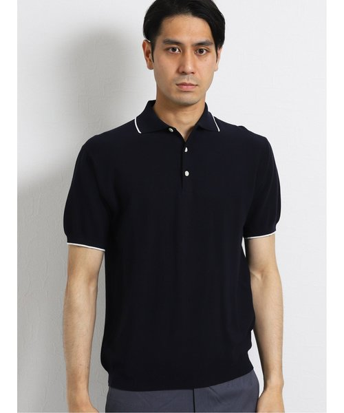 ジム/gim デザートコットンニット半袖ポロシャツ