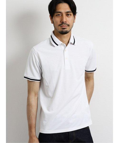 DRY-MIX 鹿の子リブライン半袖ポロシャツ