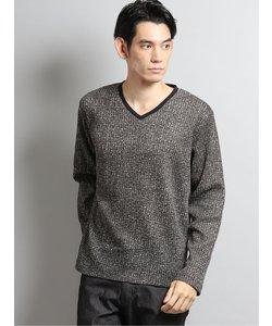 ジャガードフリースVネック長袖Tシャツ