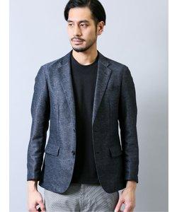 カラミ織りストレッチ スリムフィットセットアップ2ボタンジャケット 紺