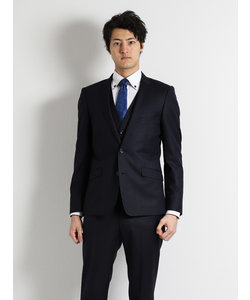 幾何学チェック柄ストレッチ紺3ピーススーツ スリムフィット