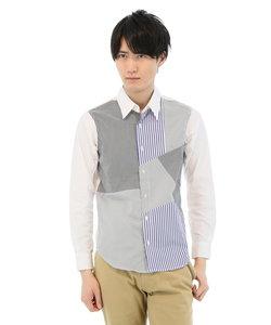 ブロード切替柄×無地レギュラーカラーシャツ