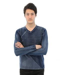 インディゴブロッキングVネック長袖Tシャツ