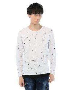 ドリッピング総柄プリントクルーネック長袖Tシャツ