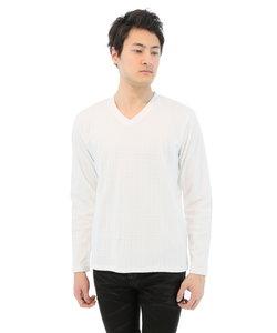チェック柄ジャガード織りVネック長袖Tシャツ