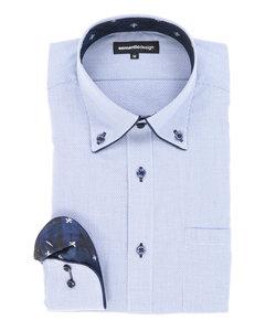 形態安定(ノーアイロン)ドゥエボットーニボタンダウンパイピングビジネスドレスシャツ