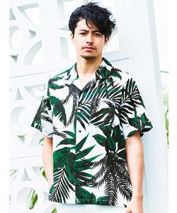 ヤシ柄プリントオープンカラー半袖シャツ