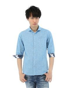 麻混シャンブレー張替ホリゾンタルカラー7分袖シャツ