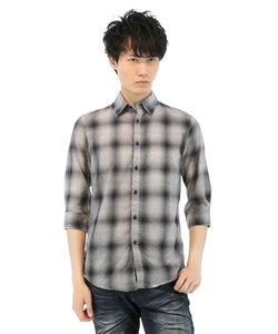 SHELLAC 7分袖オンブレーワッシャーシャツ