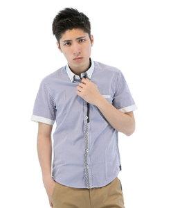 ストライプ柄クレリックボタンダウン半袖シャツ