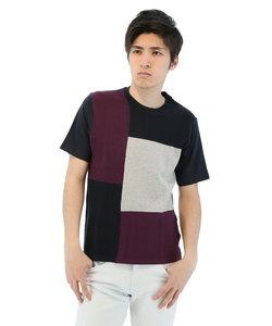 前身ニットブロック切替クルーネックTシャツ