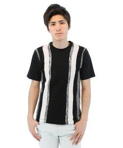 前身ニット縦切替クルーネックTシャツ