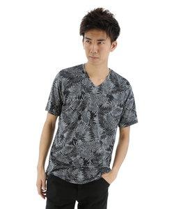 サイロスパン総柄プリントVネックTシャツ