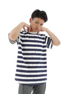 スラブストレッチペイントボーダーTシャツ