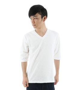 ふくれジャガードVネック5分袖Tシャツ