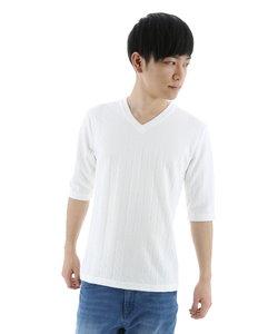 ケーブルジャガードVネック5分袖Tシャツ