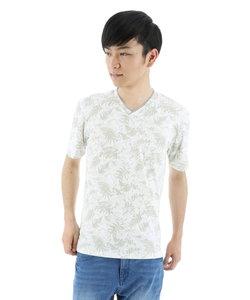 総柄テレコプリントVネックTシャツ