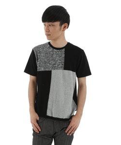 身頃切替ニットソーTシャツ