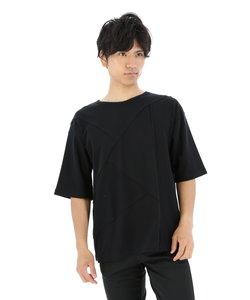 アシンメトリー切替クルーネック半袖Tシャツ