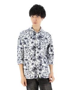 ストレッチ花柄ホリゾンタルカラー7分袖シャツ