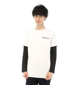 ウレタン袖レイヤード風長袖Tシャツ