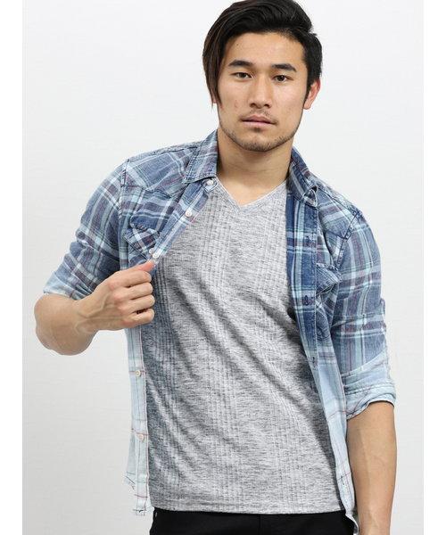 インディゴチェック柄グラデーション7分袖シャツ