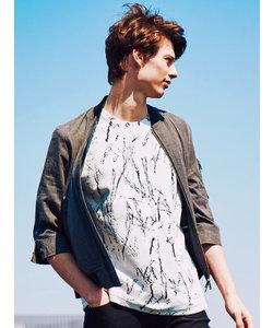 飛ばし柄ジャガード クルーネック半袖Tシャツ