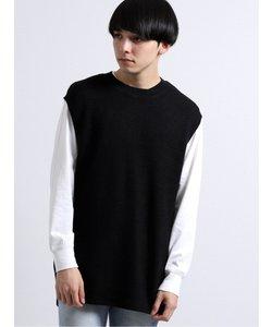 アンサンブル(鹿の子ニットベスト×長袖Tシャツ)