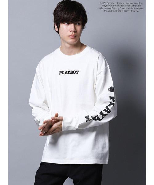 プレイボーイ/PLAYBOY別注 綿天竺スリーブロゴBIG長袖Tシャツ
