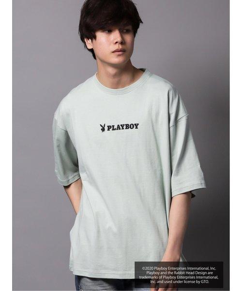 プレイボーイ/PLAYBOY別注 ラビットヘッドBIGクルーネック半袖Tシャツ