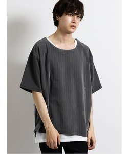 アンサンブル(ストライプ布帛Tシャツ+ワッフルタンクトップ)