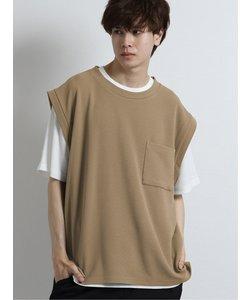 アンサンブル(ジャガードベスト+半袖Tシャツ)