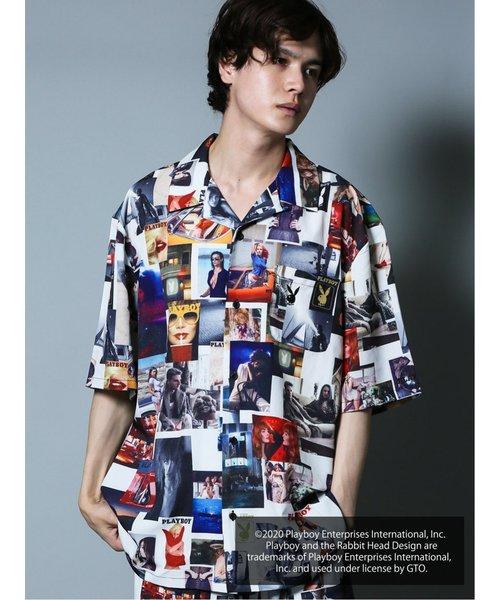 プレイボーイ/PLAYBOY別注 総柄オープンカラー半袖BIGシャツ