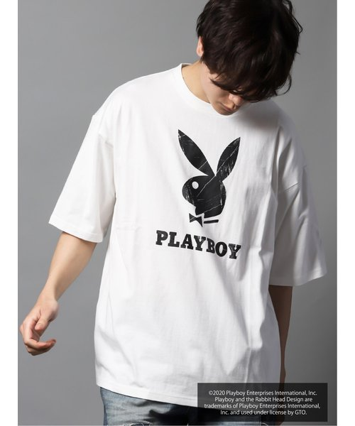 プレイボーイ/PLAYBOY別注 綿天竺ラビットヘッドバックロゴBIG半袖Tシャツ