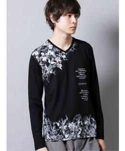 フロッキーグラフィック Vネック長袖Tシャツ