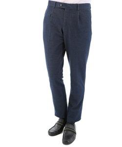 シャンブレーポンチ素材セットアップスリムフィット1タックパンツ 紺
