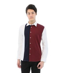 オックスフロント異素材切り替えレギュラーカラーカジュアルシャツ