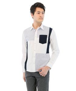 ブロード素材パッチワーク切り替えレギュラーカラーシャツ