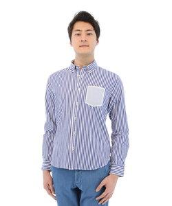 ストライプ柄フェイクポケットボタンダウンシャツ