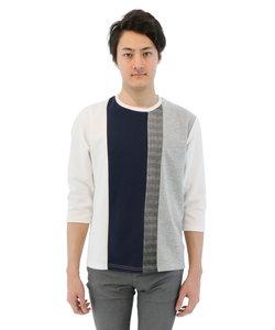タテ切替えカッティング7分袖Tシャツ